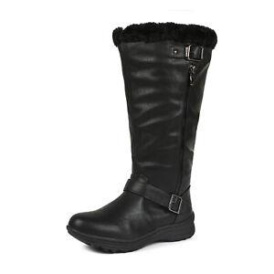 DREAM PAIRS Womens Faux Fur Winter Warm Wide-Calf  Zip Knee High Snow Booties