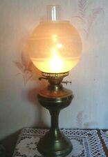 VINTAGE  DBL WICK  BRASS  OIL LAMP + CHIMNEY & ETCHED GLASS GLOBE SHADE WORKING