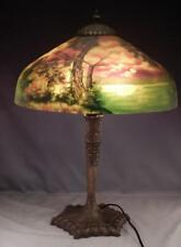 New listing Antique c1920s Reverse Painted Table Lamp~Summer Lake & Mountain Scene~Re-wired