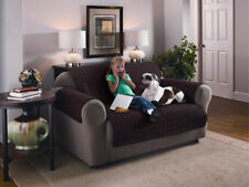 Quilted Microfibre Furniture Protector Soil Snag Resistant Sofa Cover 1 2 3 Seat Chocolate Brown Three Seater