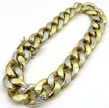 "30 Grams 12mm 9"" Mens 10k Yellow Real Gold Cuban Miami Curb Diamond Cut Bracelet"