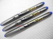 3 Blue Pens Set, Pilot SVP-20MS Vpen Medium Nib Disposable Fountain Pen (Japan)