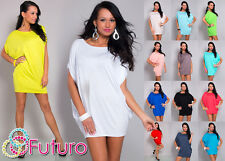 Stylish Casual Women's Top Mini Dress Boat Neck Tunic Batwing Sizes 8-18 8127