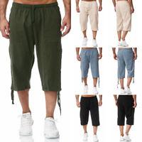 ❤️Men 3/4 Long Length Shorts Elasticated Waist Cargo Combat Three Quarter Shorts
