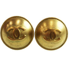 95 P France Vintage Auth #Z526 M Chanel Cc Logos Circle Earrings Gold Clip-On