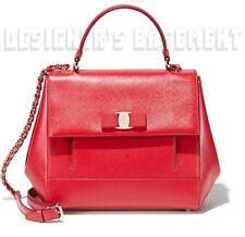 SALVATORE FERRAGAMO red Saffiano leather VARA BOW logo CARRIE bag NIB Auth $1590