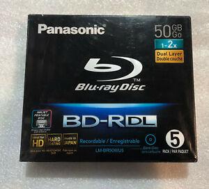 5X Panasonic BluRay BD-R DL 50GB 2x Speed Blu-Ray Inkjet Printable Discs Japan