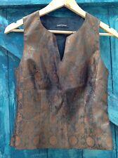womens top size S black bronze camisole paisley baroque designer Press & Bastyan