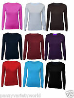 KIDS LONG SLEEVE PLAIN BASIC TOP GIRLS T-SHIRT TOPS CREW UNIFORM TEE 1-13Y