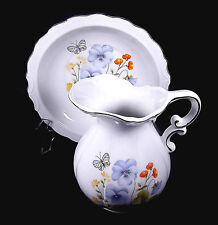 Nancy Pew Japan Pitcher Bowl Ceramic White Butterfly Orange Poppy Violet Yellow