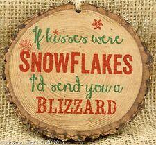 Primitive Wood Barky Christmas Ornament Snowflake Kisses USA Made P Graham Dunn