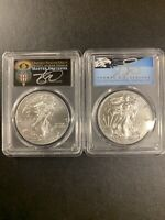 2020-P PCGS MS70 Silver Eagle-Emergency Issue FDOI  (2 Coins Set) Cleveland Sign