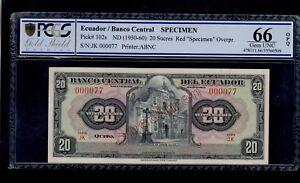 ECUADOR SPECIMEN 20 SUCRES ( 1950-60 )  PICK #102s PCGS 66  GEM UNC OPQ.
