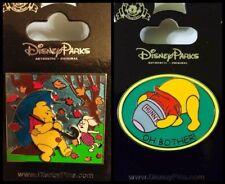 Disney Parks 2 Pin Lot POOH & Piglet rain windy day slider + Oh Bother honey jar