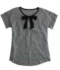 WOMEN'S J.CREW ROLL SLEEVE T-SHIRT WITH BOW DETAIL SIZE X-SMALL GREY RRP $79