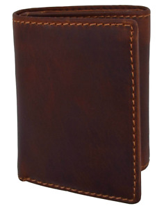 RFID Blocking Vintage Hunter Brown Leather Men's Trifold Wallet Center Flap