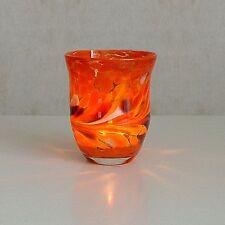 Windlicht Glas Dekoration Teelicht Orange mit buntem unikatem Motiv