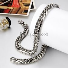 12mm Wide Heavy Large Men's Stainless Steel Necklace Chunky Link Chain 24 Inch