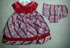 NWT RED PLAID BOW Christmas DRESS Size 9 MONTHS Velvet Holiday Photo Op