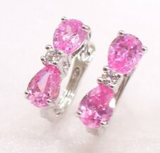 White Gold Plated Pink CZ Cubic Zirconia Bow Girl Christmas Cute Hoop Earrings