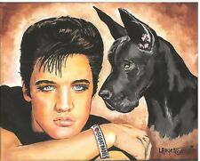 GREAT DANE ELVIS ART PRINT 8X10 BY L ROYER #490 BIOGRAPHY CERTIFICATE OF A