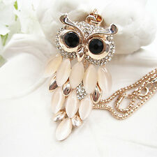 Rose Gold Plated Crystal Opal Owl Pendant Animal Chain Sweater Necklace