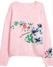 ♡☆♡☆H&M Light Baby Pink embroidered jumper L bnwt♡☆♡☆