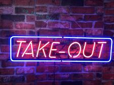 "New Take Out Open Food Restaurant Neon Sign 32""x16"" Beer Lamp Light Glass Bar"