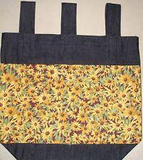 NEW Handmade Denim Walker Tote Bag Brown Eyed Susan Flowers Theme