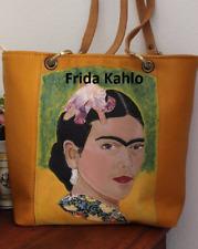 Borsa donna pelle marrone giallo artistic bag leather handmade Frida Kahlo italy