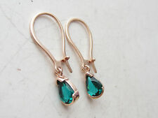 LOVELY ROSE GOLD 925 STERLING SILVER EMERALD TURKISH JEWELRY DROP EARRINGS