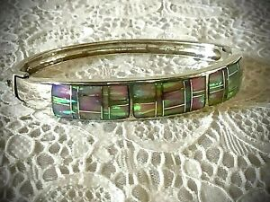"Southwest Sterling Silver Opal Inlay Hinged Bangle Bracelet 6 1/2"""