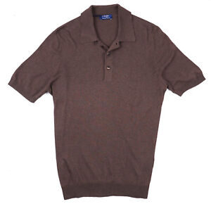 Barba Napoli Slim-Fit Gray-Brown Knit Silk Polo Shirt M (Eu 50) NWT $365