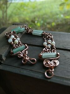 GREEN CRYSTAL and AVENTURINE COPPER BRACELET size 8 Beautiful