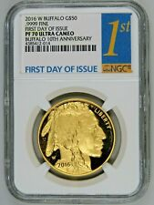 2016 W $50 Proof Gold Buffalo G$50 1oz NGC PF70 Ultra Cameo First Day of Issue