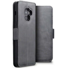 Low Profile Genuine Leather Case Stand Wallet for Samsung Galaxy A8 2018 - Grey