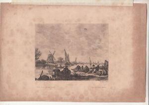 Gravure À L'Eau-forte Pression Fischzug Moulin à Vent J. V. Goyen F.Tonnelier