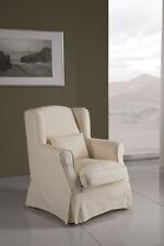 Poltrona vestita SFODERABILE classica, bergere tessuto cotone ecrù - LAVABILE
