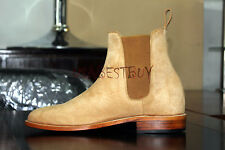 New Handmade Mens Beige Chelsea Suede Leather Boots, Men suede leather boots
