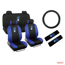 New Set Blue Hawaiian Flowers Car Front Rear Seat Covers Steering Wheel Cover
