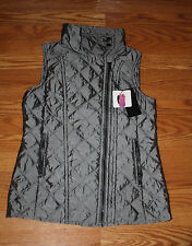 NWT Womens ANDREW MARC Quilted Vest GREY Oversized Collar Size M, Medium