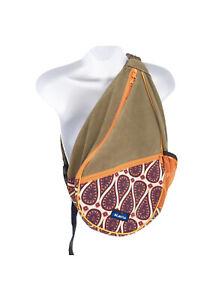 Kavu Paxton Pack Rope Bag Khaki Solid Orange Paisley Print Used Adjustable Good