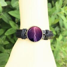 Glass Cabochon Leather Charm Bracelet Lightning bolt Black Bangle 20 mm