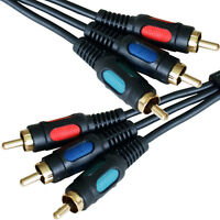 0.15m 3RCA Male to 3 Phono Plug Patch Cable/Lead – RGB Component DVD CCTV Short