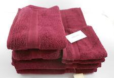 Calvin Klein 6 Piece  Bath Towel Set Solid Burgundy 100% Cotton