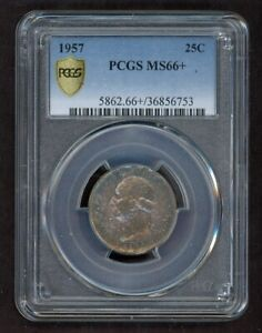 1957 Washington Quarter 25C Silver PCGS MS66+