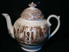 ANTIQUE ENGLISH STAFFORDSHIRE TRANSFERWARE TEAPOT - 19th Century, Castle Scene