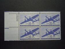 1944 #C27 10c Transport Plane Plate Block  MNH OG F/VF (Includes New Mount)