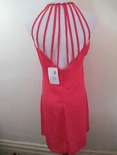 Womens Coral Pink Short Mini Dress Pearl Straps M Women's Halter Sleeveless