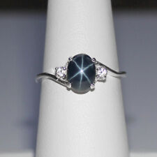 Genuine Blue Star Sapphire Ring Sterling Silver 925 / Sapphire Accent / Oval Cut